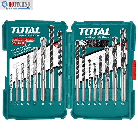 Bộ mũi khoan 16 chi tiết khoan bê tông, sắt, gỗ Total TACSD6165