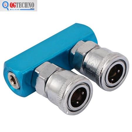 Bộ đầu nối nhanh chia 2 đầu ống hơi khí nén bằng thép Dannio 1