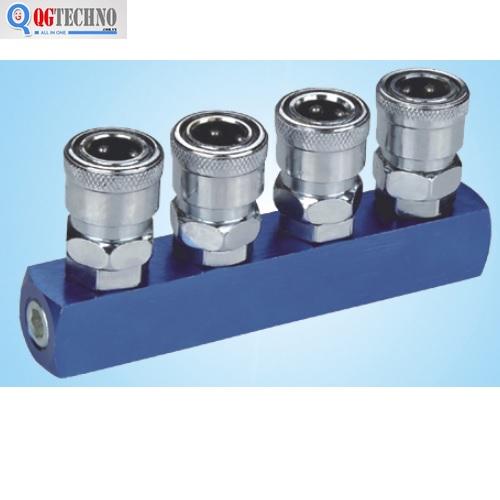 Bộ đầu nối nhanh chia 4 đầu ống hơi khí nén bằng thép Dannio