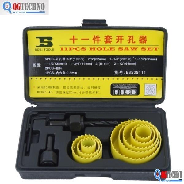 Bộ công cụ khoét lỗ gỗ và thạch cao BOSI 11 chi tiết BS539111